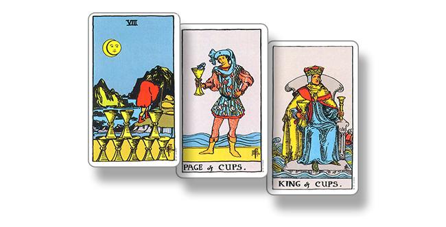 Карты Таро — 8 Кубков, Паж Кубков, Король Кубков