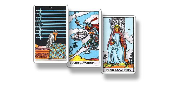 Карты Таро 9 Мечей, Рыцарь Мечей и Король Мечей