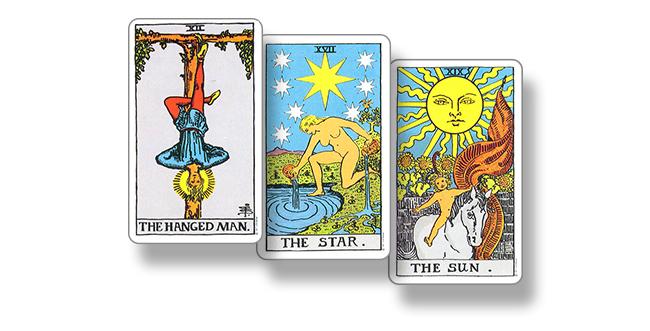 Карты Таро Повешенный, Звезда и Солнце