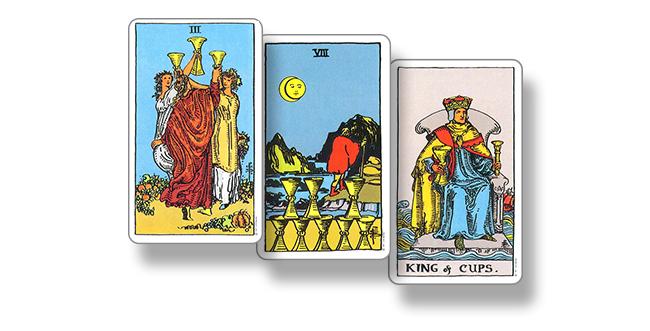 Карты Таро 3 Кубков, 7 Кубков и Король Кубков