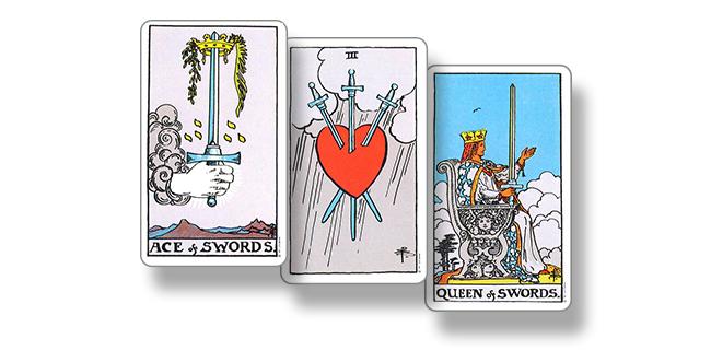 Сочетание 7 Кубков с Тузом Мечей, 3 Мечей и Королевой Мечей