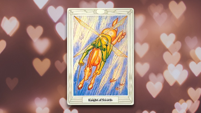 Рыцарь Мечей Таро Тота при гадании на любовь и отношения
