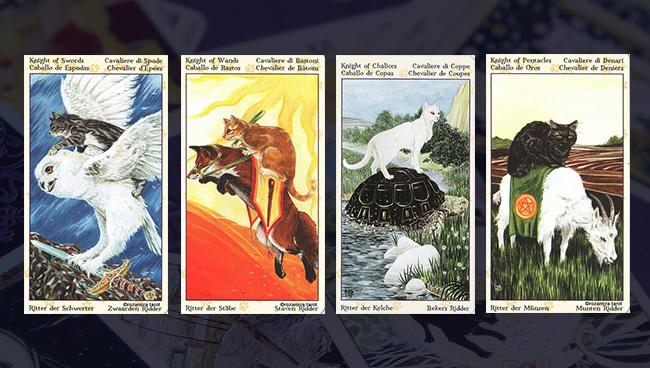 Таро Языческих Кошек придворные карты Рыцари