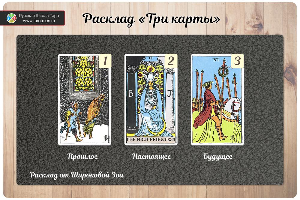 расклад на три карты — 5 пентаклей, Жрица, 6 посохов